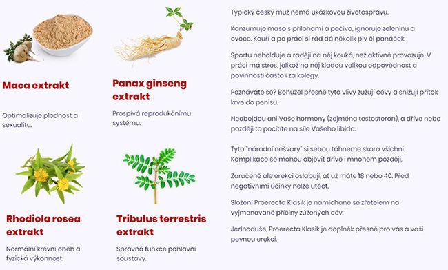 Složení Proerecta je čistě přírodní zkvalitních surovin
